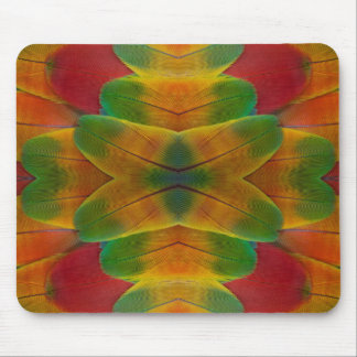 Macaw parrot feather kaleidoscope mouse pad