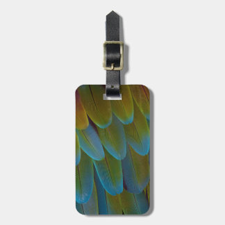 Macaw parrot feather pattern detail luggage tag