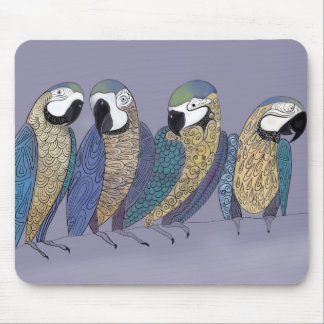 Macaw parrots having a party mouse pad