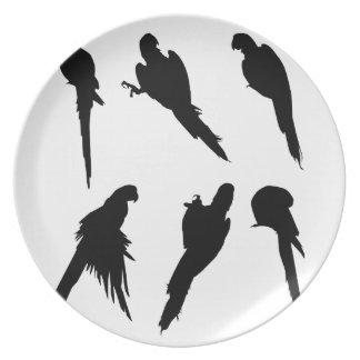 Macaw Silhouette Set Plate