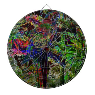 Macaws In Tropical Paradise At Night Dart Boards