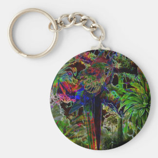Macaws In Tropical Paradise At Night Key Ring