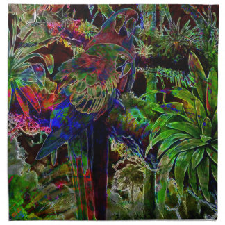 Macaws In Tropical Paradise At Night Napkin