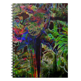 Macaws In Tropical Paradise At Night Notebook