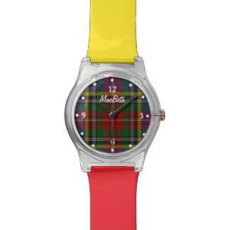 MacBeth  Plaid Faced Colorful Custom Wrist Watch