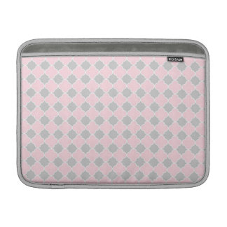 Macbook Pink Grey Quatrefoil Pattern Sleeves For MacBook Air