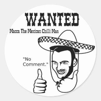 Macca Mexican Chilli Man Round Sticker