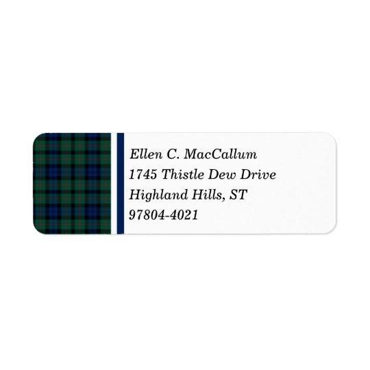 MacCallum Clan Dark Blue and Green Scottish Tartan Return Address Label