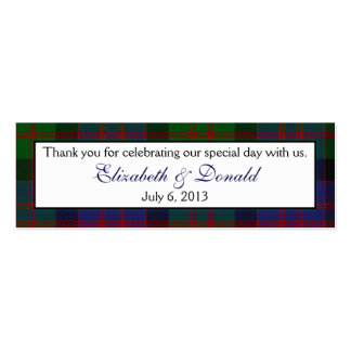 MacDonald McDonald Tartan Wedding Favour Tags Double-Sided Mini Business Cards (Pack Of 20)