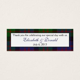 MacDonald McDonald Tartan Wedding Favour Tags Mini Business Card