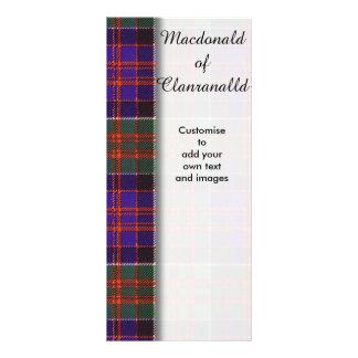 Macdonald of Clanranalld Plaid Scottish tartan Custom Rack Cards