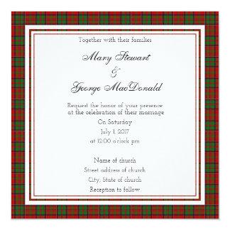 MacDonald Of Glencoe Scottish Wedding Square Invit Card