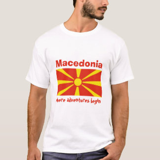 Macedonia Flag + Map + Text T-Shirt