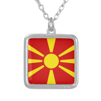 Macedonia Flag Silver Plated Necklace