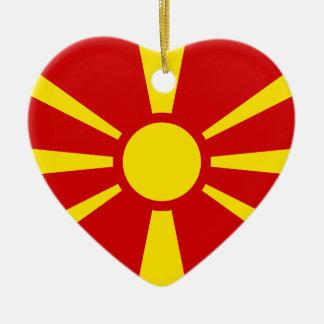 Macedonia, Luxembourg flag Ceramic Ornament