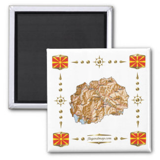 Macedonia Map + Flags Magnet