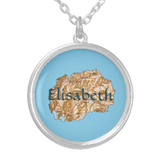 Macedonia Map + Name Necklace