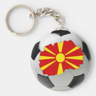 Macedonia national teal basic round button key ring