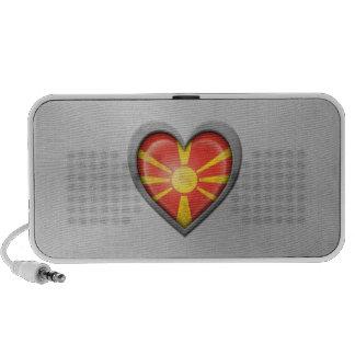 Macedonian Heart Flag Stainless Steel Effect Notebook Speaker