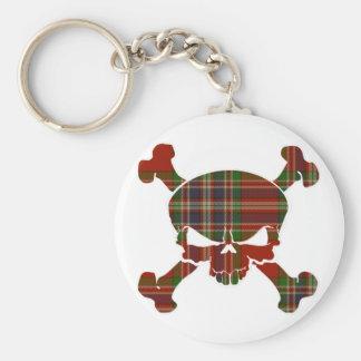 MacFarlane Tartan Skull No Banner Basic Round Button Key Ring