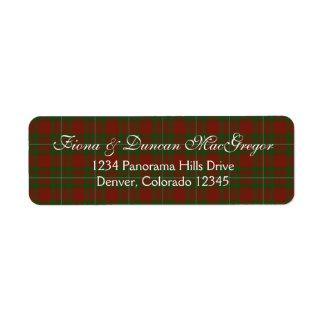 MacGregor Cardney Tartan Scottish Return Address Return Address Label