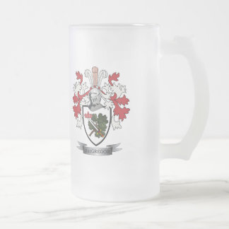 MacGregor Family Crest Coat of Arms Frosted Glass Beer Mug