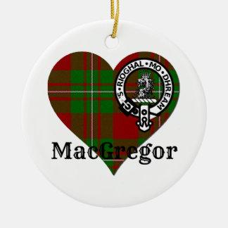 MacGregor Tartan Crest Heart Round Ceramic Decoration