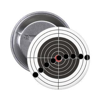Machine gun bullet holes over shooting target 6 cm round badge