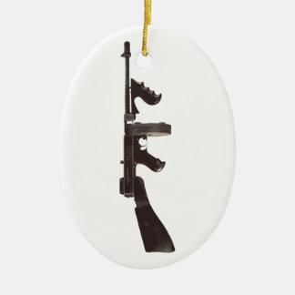 Machine Gun Ceramic Ornament