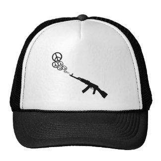 Machine Gun Peace Trucker Hats