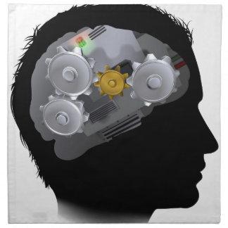 Machine Workings Gears Cogs Brain Man Napkin