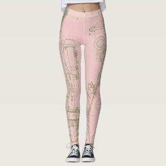 Machinery Engineering Industrial Robotic Blueprint Leggings