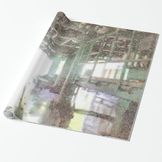 Machinery in a factory wrapping paper