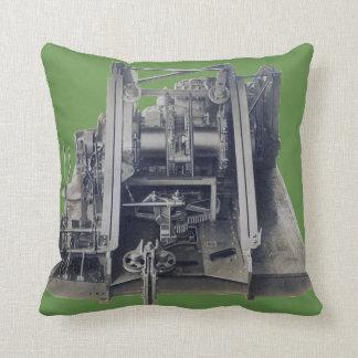 Machinery Industrial Gears Engineering Vintage Cushion