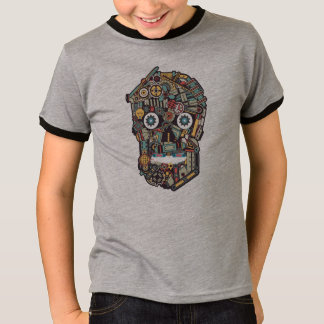 Machinery Steampunk Skull Illustration T-Shirt
