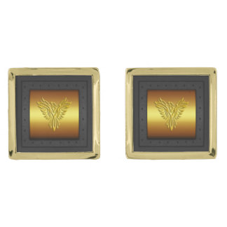 Macho Monogram on riveted steel-framed gold Gold Finish Cufflinks