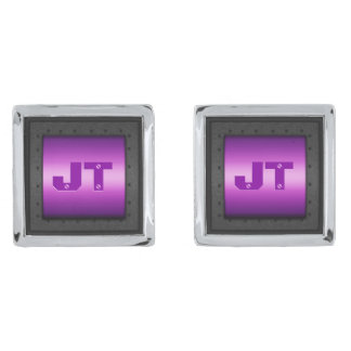 Macho Monogram on riveted steel-framed purple Silver Finish Cufflinks