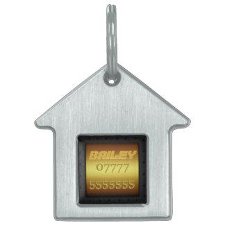 Macho Monogram, riveted steel-framed gold effect Pet ID Tag