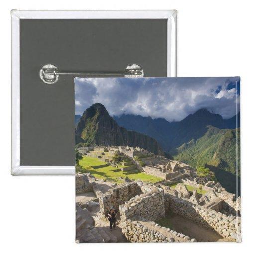 Machu Picchu, ancient ruins, UNESCO world 3 Pinback Buttons