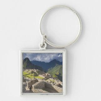 Machu Picchu, ancient ruins, UNESCO world 3 Silver-Colored Square Key Ring