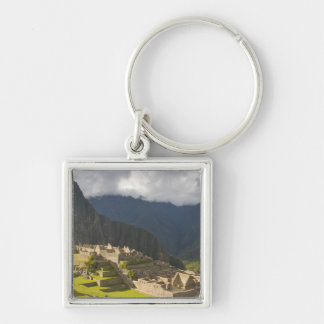 Machu Picchu, ancient ruins, UNESCO world 4 Silver-Colored Square Key Ring