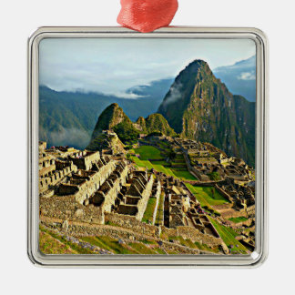 Machu Picchu Square Metal Christmas Ornament