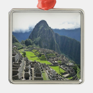 Machu Picchu Silver-Colored Square Decoration