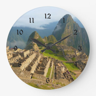 Machu Picchu wall clock with black numbers