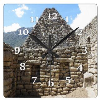 Machu Pichu Square Wall Clock