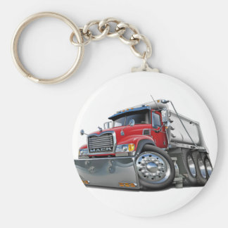 Mack Dump Truck Red-White Basic Round Button Key Ring