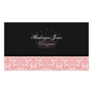 Mackenzie 3 Pink Black Damask Chic Business Card