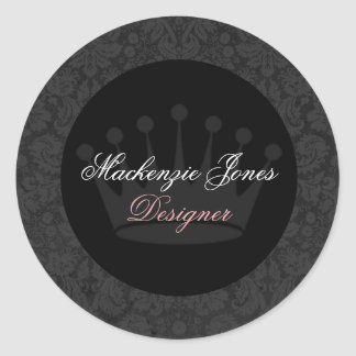 Mackenzie Black Damask Chic Round Sticker