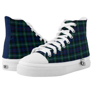 Mackenzie Clan Tartan Blue and Green Plaid Hi-Top Printed Shoes