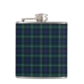 Mackenzie Clan Tartan Navy Blue and Green Plaid Hip Flask